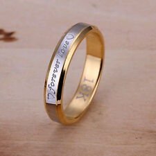 wholesale solid silver gold plated love ring for women size 6,7,8,9,10 SR096