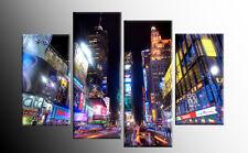 "LARGE TIMES SQUARE NEW YORK CITY CANVAS ARTWORK PICTURE SPLIT MULTI 4 PANEL 40"""