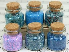 Blue Set of Corked Jars - 311-M-0602 - German Glass Glitter - Meyer Imports