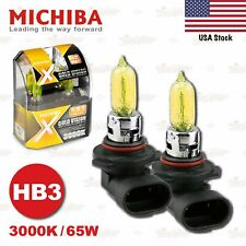 HB3 9005 MICHIBA 65W 3000K GOLDEN YELLOW Halogen HeadLight Bulbs Lamps HIGH BEAM