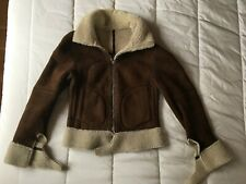 100% REAL SHEEPSKIN SHEARLING SUEDE REVERSIBLE BIKER JACKET DARK BROWN CREAM S