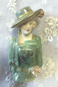 """Porcelain half doll """"Miss McLeod"""" 8 cms"""" painted in green with decals"""