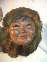 "Vintage  Bosson Chalkware Head ""Eskimo"" Beaver Fir Hat"