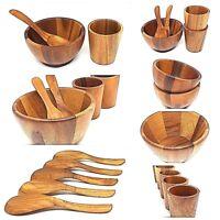 "Jamjuree wooden bowl 5""cup 2.7""teak spoon 7""serving dishes dinner ware kitchen"