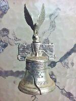 Vtg Cast Metal Eagle Liberty Bell 1776 1976 Bicentennial Silver Tone Japan