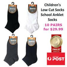 Children's Premium Cotton Low Cut Ankle School Socks Kids Anklet Socks 10x PAIRS