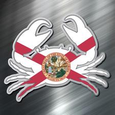 (1) ONE Florida Crab Flag Fish Decal Sticker Car Boating Boat Beach Ocean New