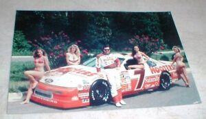 Vintage Alan Kulwicki NASCAR Hooters Race Car Photo with Sexy Bikini Models 4x6