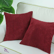 Set of 2 Cushion Covers Pillows Cases Corduroy Corn Striped Home Decor 50x50