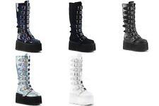 DEMONIA Damned-318 Hologram White Velvet Vegan Leather Goth Spike Buckles Boots