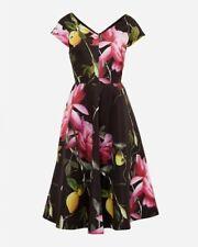 Ted Baker - Nimah Citrus Bloom V-Neck Black Dress. Size 5 (UK - 16).