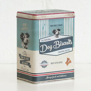 Retro Dog Treat Biscuit 3L Metal Storage Tin Kitchen Pet Food Container Canister