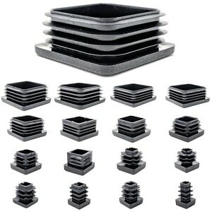 Square Plastic End Caps Blanking Plugs Tube Box Section Insert / BLACK
