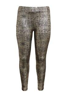 Torrid Gold Crosshatch Metallic Foil Leggings Pants NWT 1 1x 14/16 plus