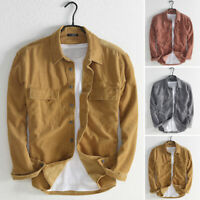 Men Corduroy Tops Buttons Open Casual Loose Fit Long Sleeve Shirt Blouse T Shirt
