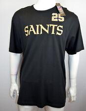 Reebok Nfl T-Shirt Men's 2Xl Saints # 25 Bush Team Apparel V 00006000 intage Black Nwt