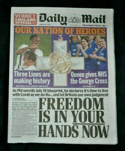The Daily Mail UK Newspaper 05/07/21 July 5th 2021 England beat Ukraine Euros