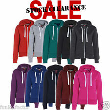 Womens Ladies Girls Plain Fleece Hoodie Zip Sweatshirt Jacket PLUS size UK 8-26*