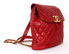 CHANEL Vintage Lipstick Red Quilted Lambskin Logo Lock Large Backpack Bag
