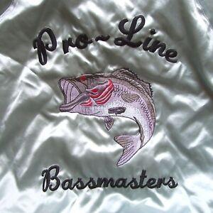 Vintage Rennoc Pro-Line Bassmasters Nylon Baseball Jacket USA Made Mens XL Satin
