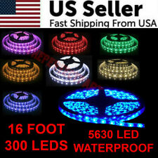 16FT 5630 Super Bright Waterproof 300 LED Strip Light DC12V 6A W/3M Tape Lamp US