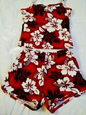 Kowah Shorts Tank Top Set  Womens Size L Red Hawaiian Floral White Flowers