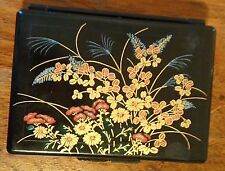 Vintage Chinese Floral Travel Jewelry Box With Mirror Black Plastic Hong Kong