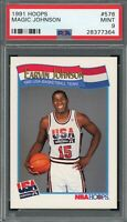 Magic Johnson USA 1991 Hoops Basketball Card #578 Graded PSA 9 MINT