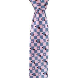 """NWT ITALO FERRETTI Italy Pink & Blue Checkered 100% Silk 2.75"""" Mens Neck Tie"""