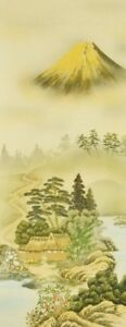 """JAPANESE PAINTING ART FUJI LANDSCAPE GOLD 73"""" Kakejiku HANGING SCROLL Japan c460"""