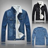 New Men's Winter Warm Fleece Denim Fur Lined Jackets Vintage Trucker Jean Coats