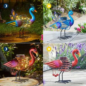 Solar Power Outdoor LED Peacock Flamingo Novelty Spiralite Path Light | Garden