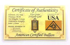 1/3 Gram .9999 Fine 24k Gold Bullion Bar - in Certificate of Authenticity Card