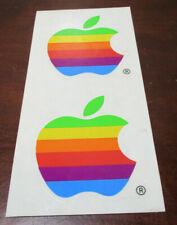Two (2) Vintage Mid 1990s Apple Rainbow Logo Stickers