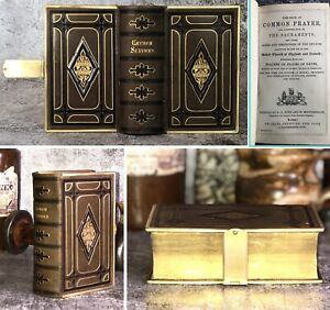 c1842 Antique Leather Bible New Testament Prayer Book Clasp Eyre & Spottiswoode