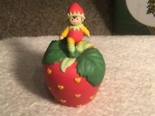 Avon 1993 Strawberry Hearts Delight Porcelain Bell with Pixie Elf Figurine