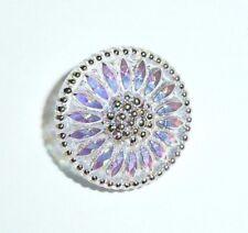 Pretty Daisy Flower Transparent AB Finish Czech Glass Shank Button 18mm