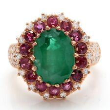 6.60 Carat Natural Emerald Ruby and Diamonds in 14K Rose Gold Women Ring