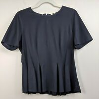 Rebecca Taylor Large Blouse Black Peplum Top Cotton Short Sleeve Zipper Stretch