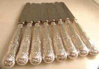 MAPPIN WEBB LUNCHEON KNIVES SILVER HANDLED SET 8