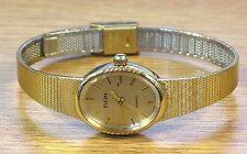 Elgin Gold Tone Vintage Elegant Ladies Quartz Watch Working w/ Fresh Battery