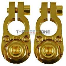 High Quality Gold Positive & Negative 8 Gauge Car Battery Terminal Clamp Set