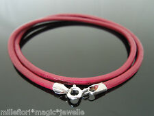 """3mm Maroon Red Leather 925 Sterling Silver Necklace Or Wristband 16"""" 18"""" 20"""" 22"""""""