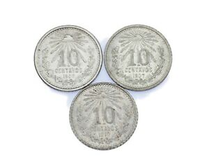 1906-1910 Mexican 10 Centavos Lot of 3 (UNC) KM# 428