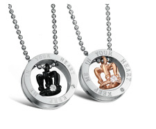 LOVE Couple Necklaces stainless steel ring w/crown design Pendant + free chain