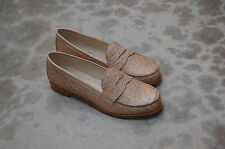 WOMAN - 38½ - PENNY LOAFER - GENUINE CREAM OSTRICH - LEATHER SOLE