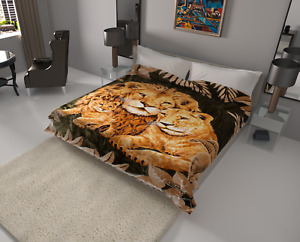 Solaron Blanket throw Thick Ultra Fine Polyester Mink Plush Lions Heavy Weight