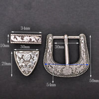 "Western Cowboy Silver Flower Engraved Belt Pin Buckle 3pc/Set Fits 1-1/8"" Strap"