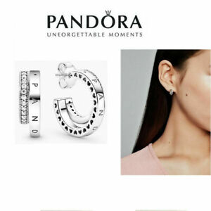 Genuine New Pandora Silver Studs Pavé S925 Double Hoop Earrings With Gift Box