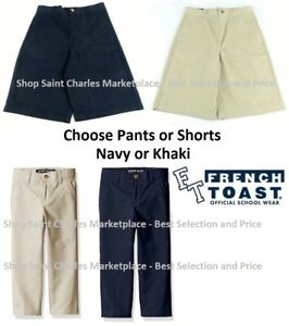 French Toast Boys Uniform Pants and Shorts, Adjustable Waist, Choose Color Size